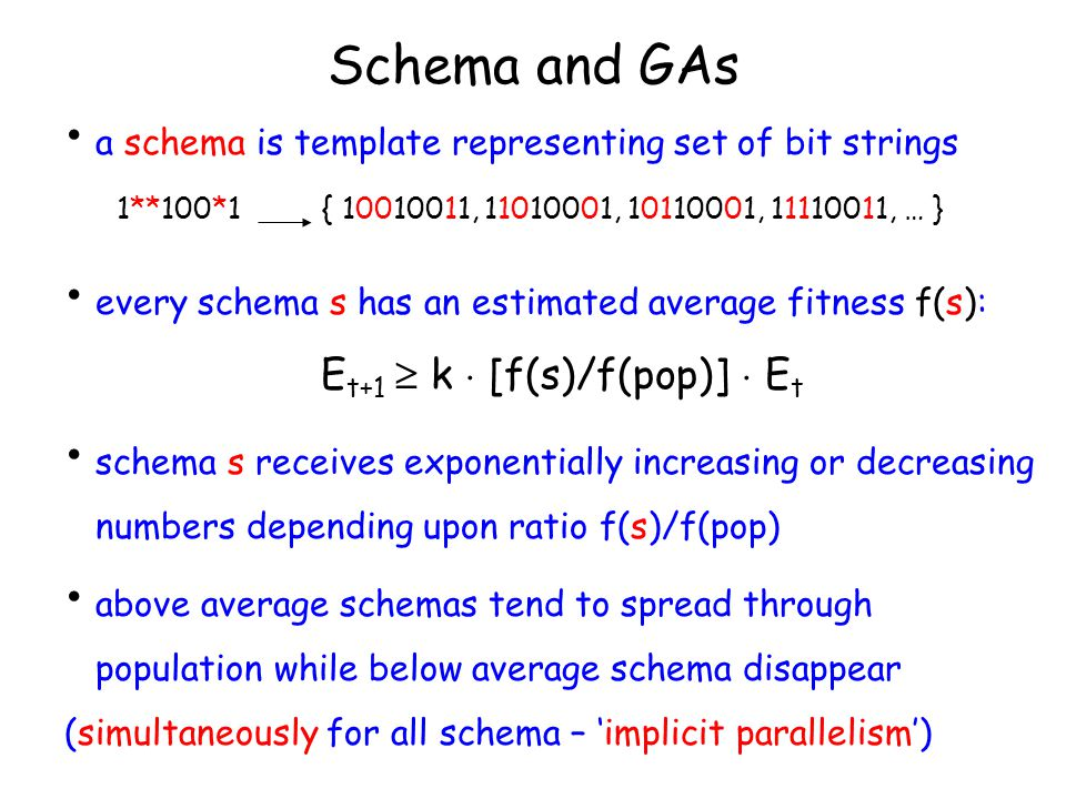 Schema and GAs a schema is template representing set of bit strings 1**100*1 { 10010011, 11010001, 10110001, 11110011, … } every schema s has an estimated average fitness f(s): E t+1  k  [f(s)/f(pop)]  E t schema s receives exponentially increasing or decreasing numbers depending upon ratio f(s)/f(pop) above average schemas tend to spread through population while below average schema disappear (simultaneously for all schema – 'implicit parallelism')