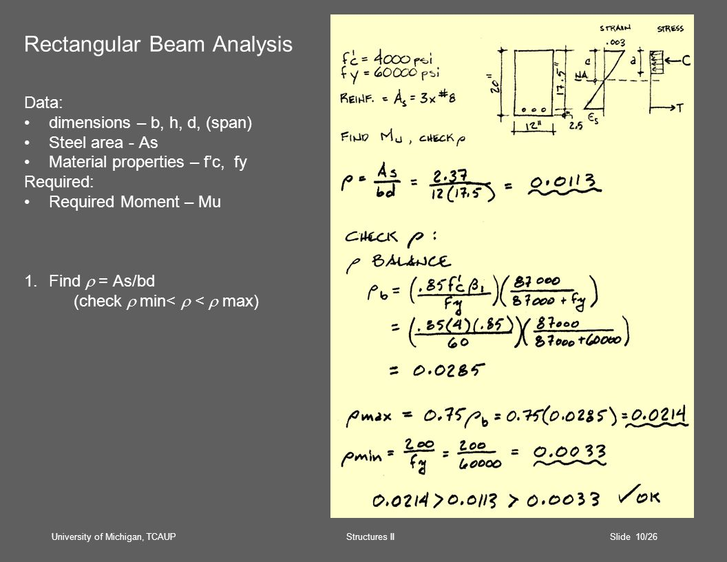 University of Michigan, TCAUP Structures II Slide 10/26 Rectangular Beam Analysis Data: dimensions – b, h, d, (span) Steel area - As Material properties – f'c, fy Required: Required Moment – Mu 1.Find  = As/bd (check  min<  <  max)