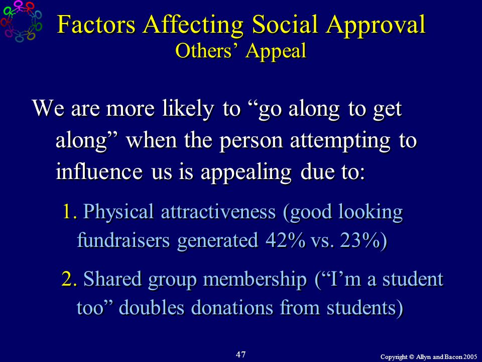 "Copyright © Allyn and Bacon 2005 47 Factors Affecting Social Approval Others' Appeal We are more likely to ""go along to get along"" when the person att"