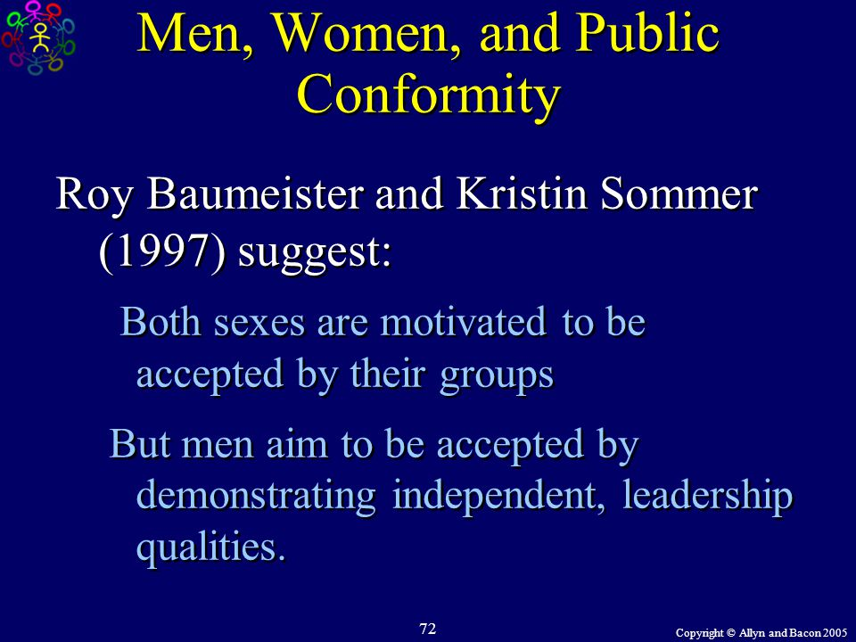 Copyright © Allyn and Bacon 2005 72 Men, Women, and Public Conformity Roy Baumeister and Kristin Sommer (1997) suggest: Both sexes are motivated to be