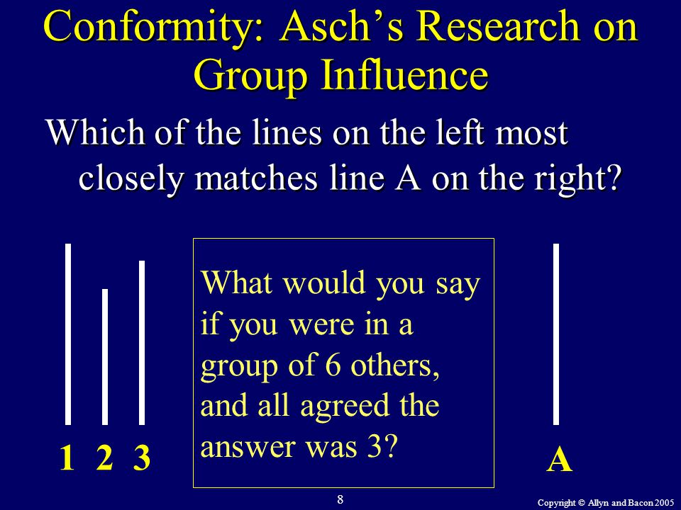 Copyright © Allyn and Bacon 2005 8 A 123 What would you say if you were in a group of 6 others, and all agreed the answer was 3? Conformity: Asch's Re