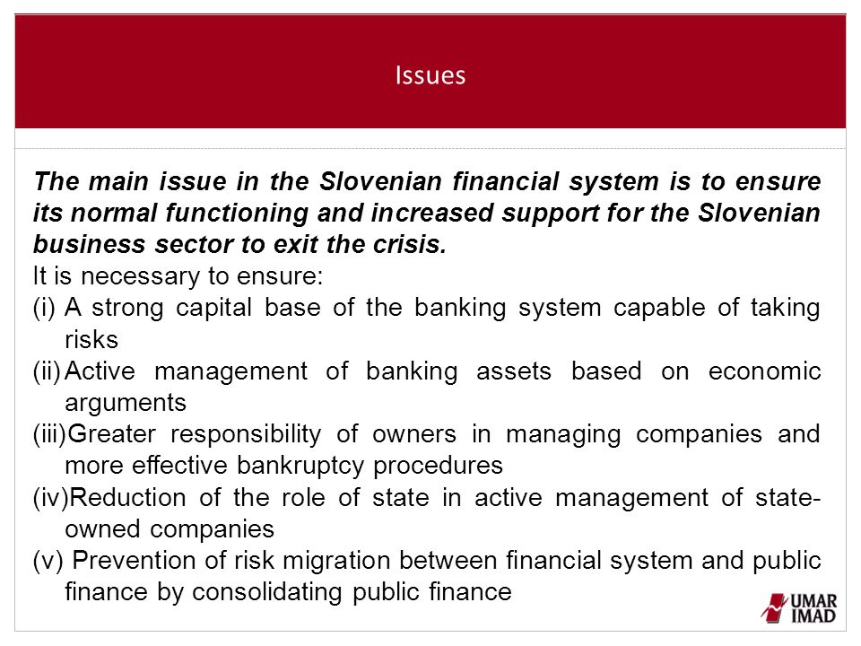Issues The main issue in the Slovenian financial system is to ensure its normal functioning and increased support for the Slovenian business sector to exit the crisis.
