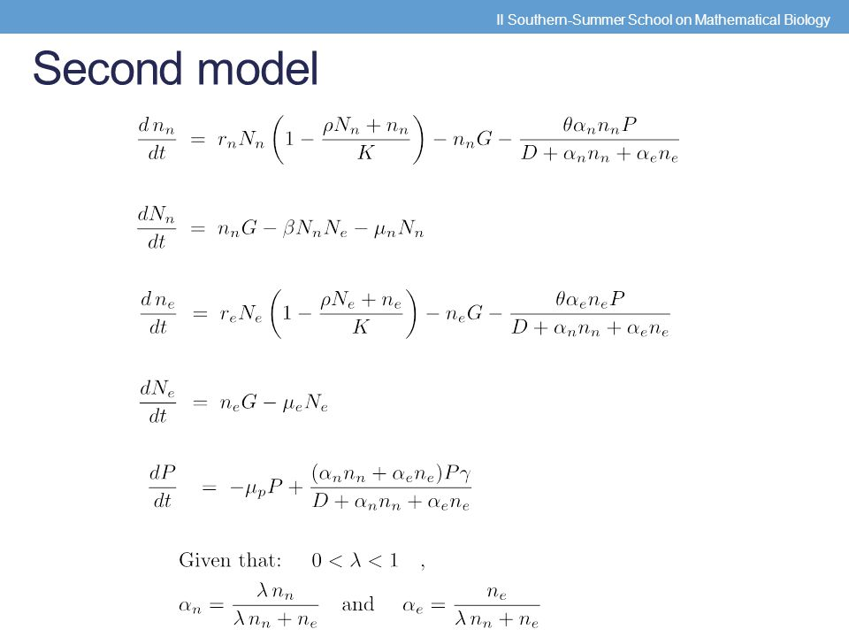 Second model II Southern-Summer School on Mathematical Biology
