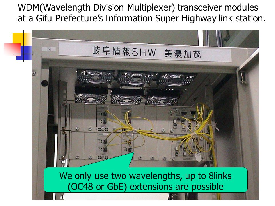 WDM(Wavelength Division Multiplexer) transceiver modules at a Gifu Prefecture's Information Super Highway link station.