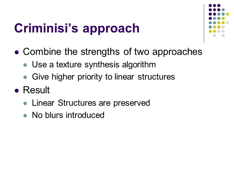 Criminisi's Algorithm Assign each pixel with a priority value Give linear structures higher priorities