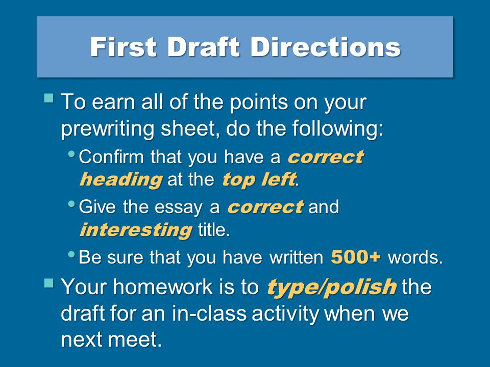 Make an appointment in the Writing Center [5- 155] if you want someone to read your draft.