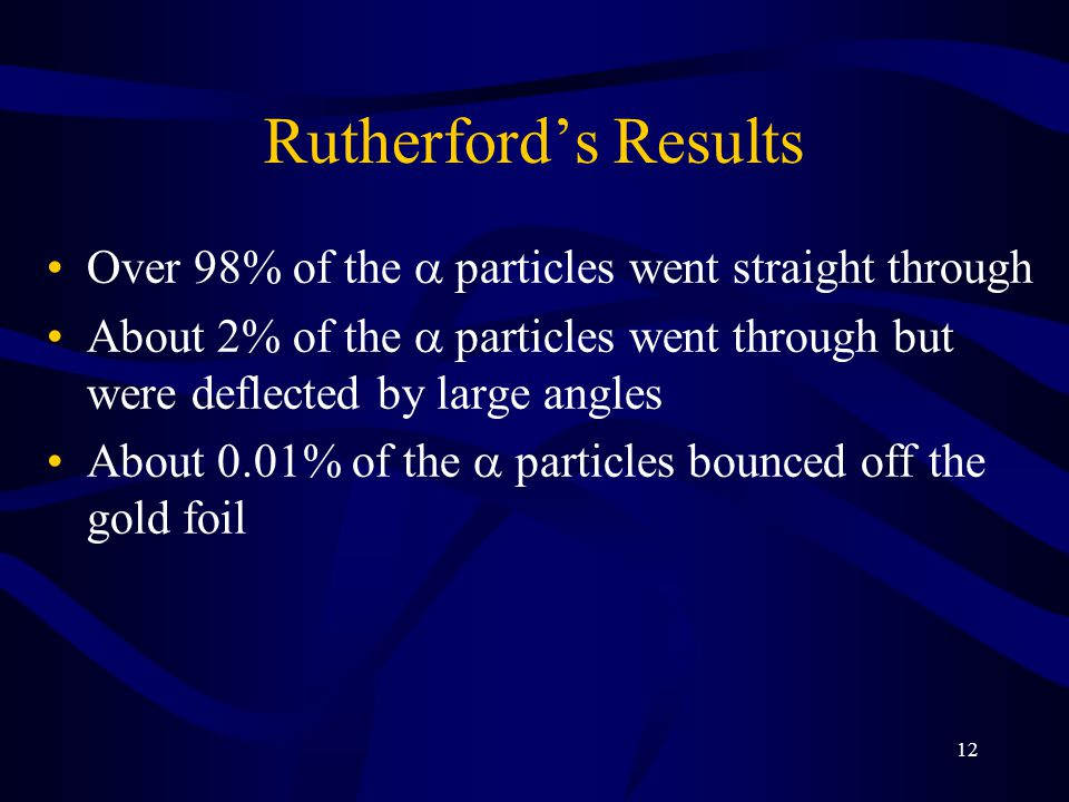12 Rutherford's Results Over 98% of the  particles went straight through About 2% of the  particles went through but were deflected by large angles
