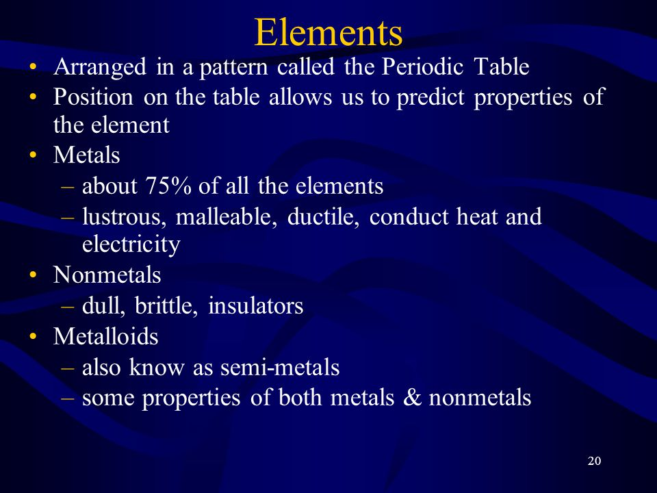 20 Elements Arranged in a pattern called the Periodic Table Position on the table allows us to predict properties of the element Metals –about 75% of all the elements –lustrous, malleable, ductile, conduct heat and electricity Nonmetals –dull, brittle, insulators Metalloids –also know as semi-metals –some properties of both metals & nonmetals