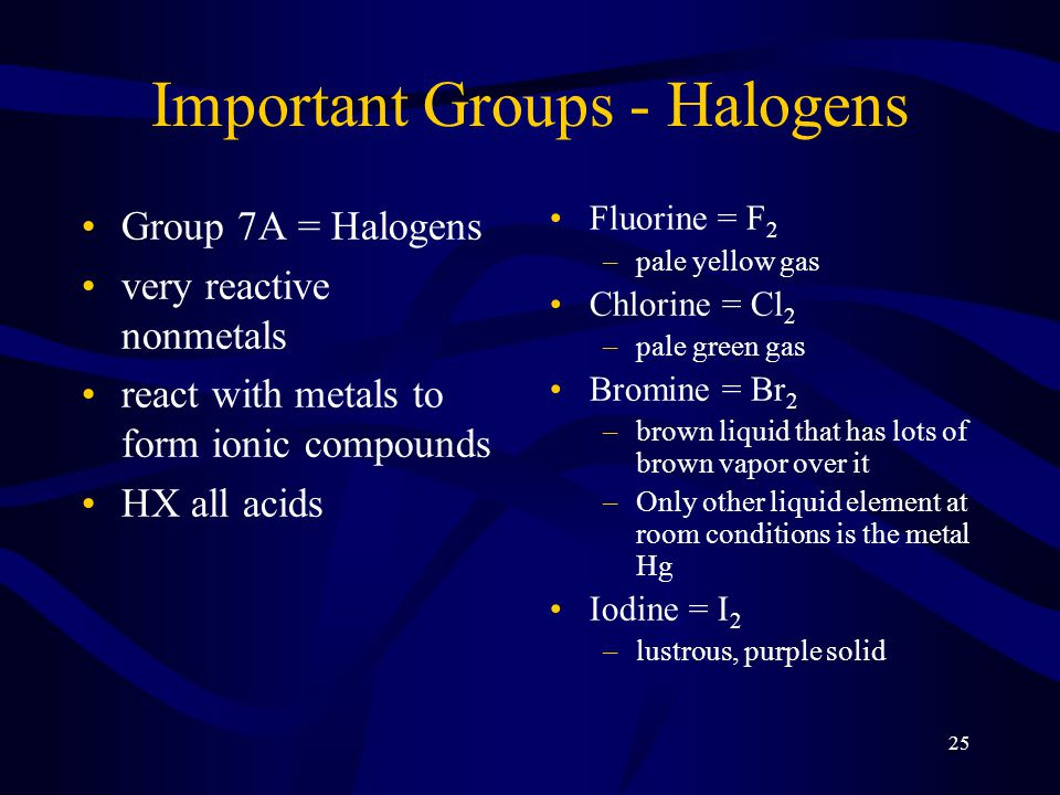 25 Important Groups - Halogens Group 7A = Halogens very reactive nonmetals react with metals to form ionic compounds HX all acids Fluorine = F 2 –pale