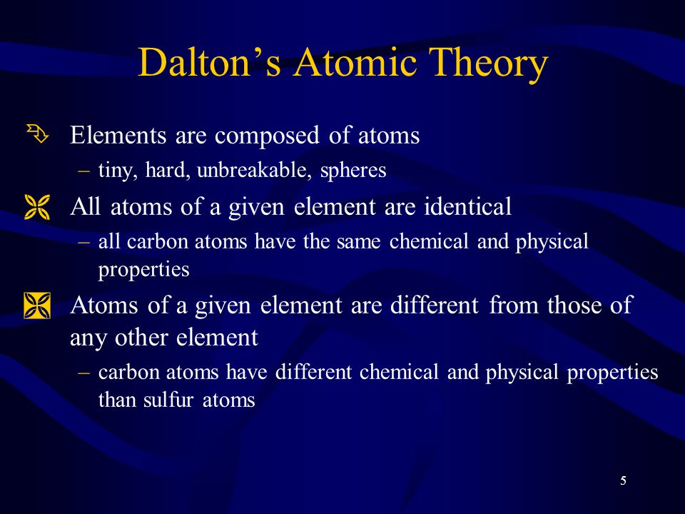 5 Dalton's Atomic Theory ÊElements are composed of atoms –tiny, hard, unbreakable, spheres ËAll atoms of a given element are identical –all carbon ato