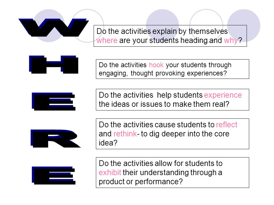 Do the activities explain by themselves where are your students heading and why.