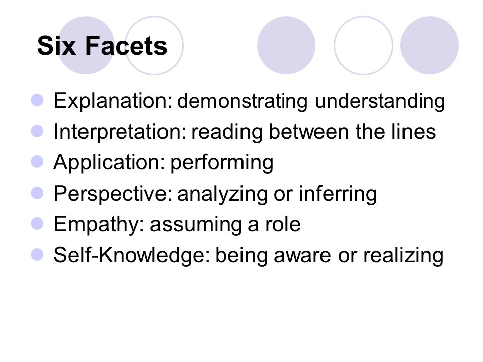 Six Facets Explanation: demonstrating understanding Interpretation: reading between the lines Application: performing Perspective: analyzing or inferring Empathy: assuming a role Self-Knowledge: being aware or realizing