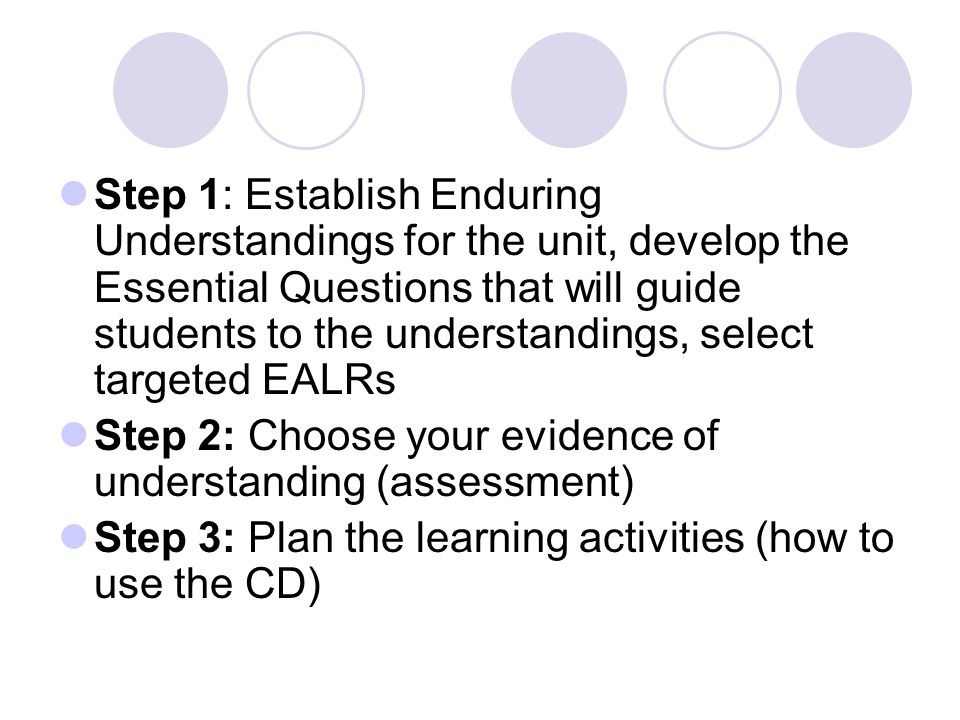 Step 1: Establish Enduring Understandings for the unit, develop the Essential Questions that will guide students to the understandings, select targeted EALRs Step 2: Choose your evidence of understanding (assessment) Step 3: Plan the learning activities (how to use the CD)