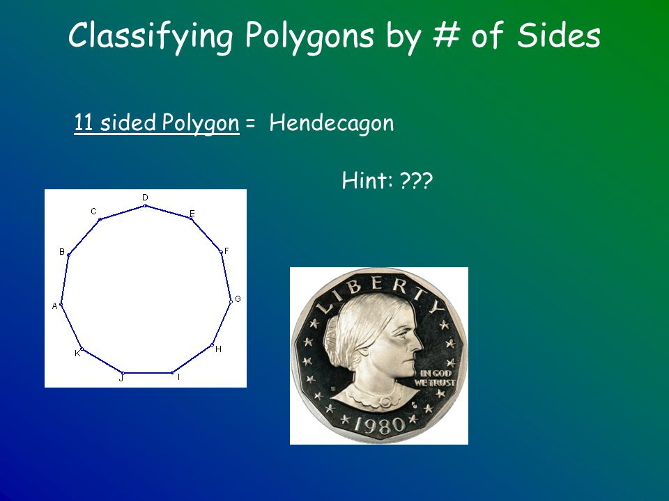 Classifying Polygons by # of Sides 11 sided Polygon =Hendecagon Hint: ???