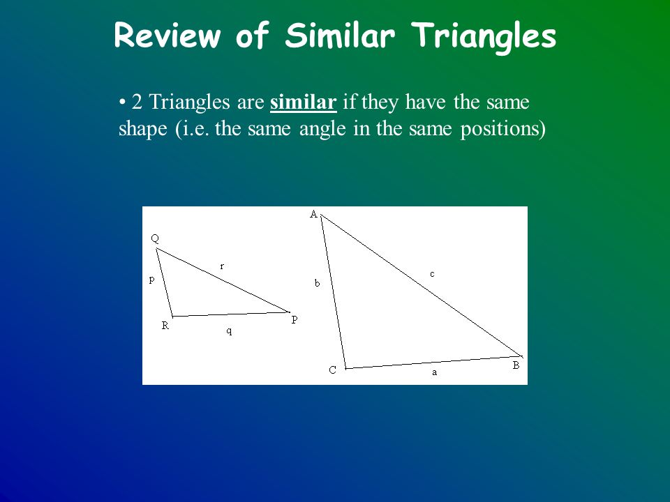Review of Similar Triangles 2 Triangles are similar if they have the same shape (i.e. the same angle in the same positions)