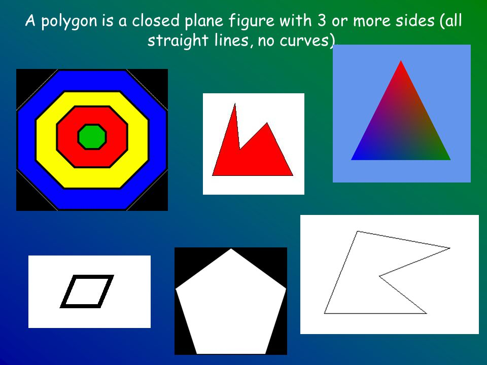 A polygon is a closed plane figure with 3 or more sides (all straight lines, no curves).