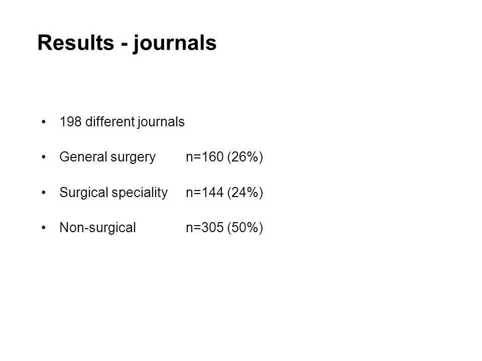 Results - journals 198 different journals General surgery n=160 (26%) Surgical specialityn=144 (24%) Non-surgicaln=305 (50%)