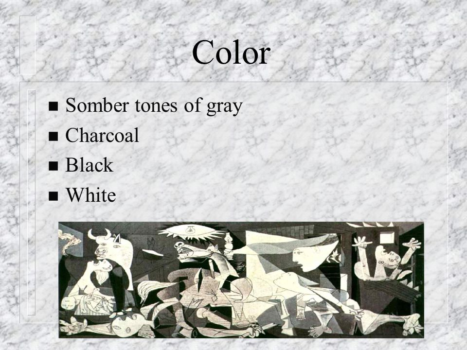 Color n Somber tones of gray n Charcoal n Black n White