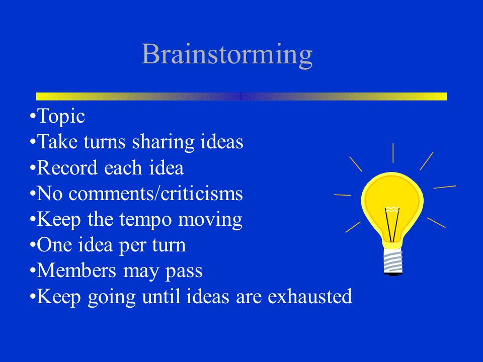 Brainstorming Topic Take turns sharing ideas Record each idea No comments/criticisms Keep the tempo moving One idea per turn Members may pass Keep goi
