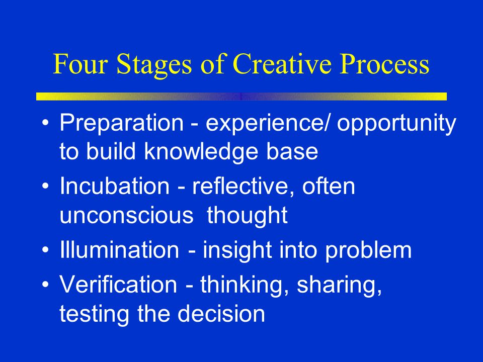 Four Stages of Creative Process Preparation - experience/ opportunity to build knowledge base Incubation - reflective, often unconscious thought Illum