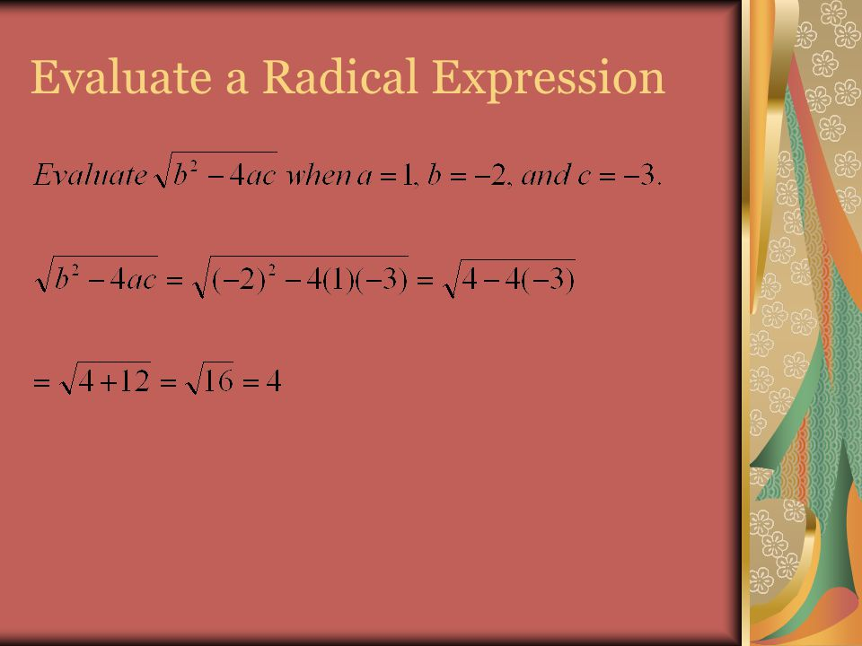 Evaluate a Radical Expression