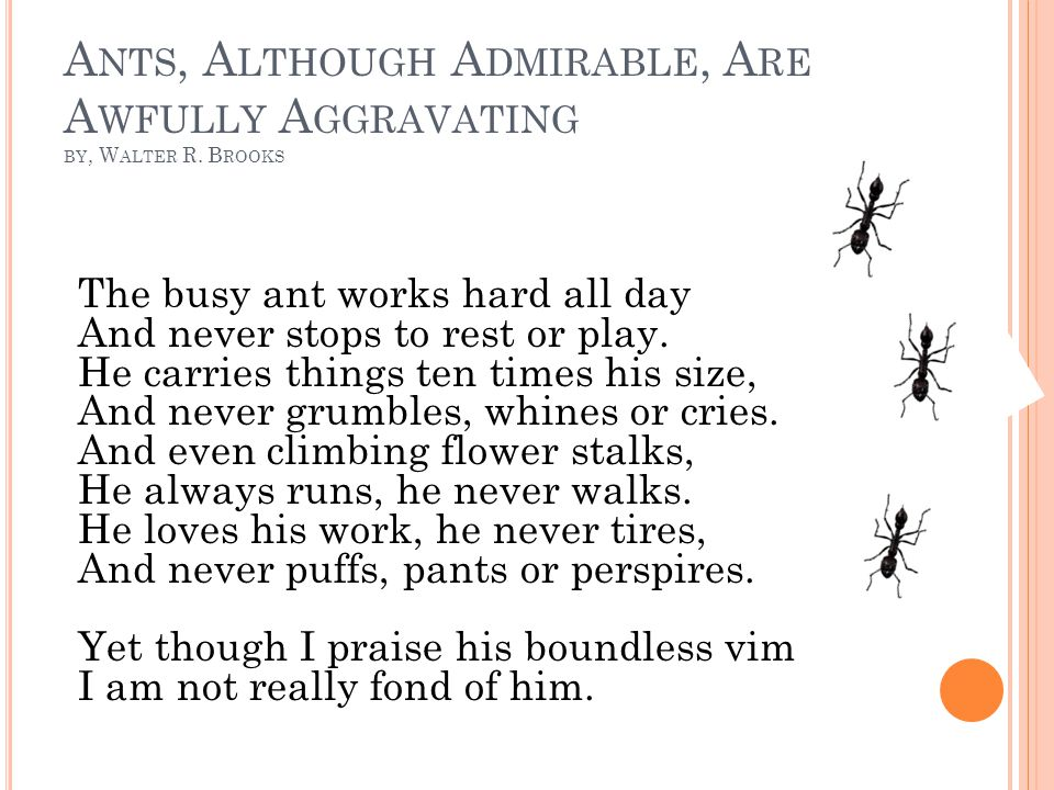A NTS, A LTHOUGH A DMIRABLE, A RE A WFULLY A GGRAVATING BY, W ALTER R. B ROOKS The busy ant works hard all day And never stops to rest or play. He car