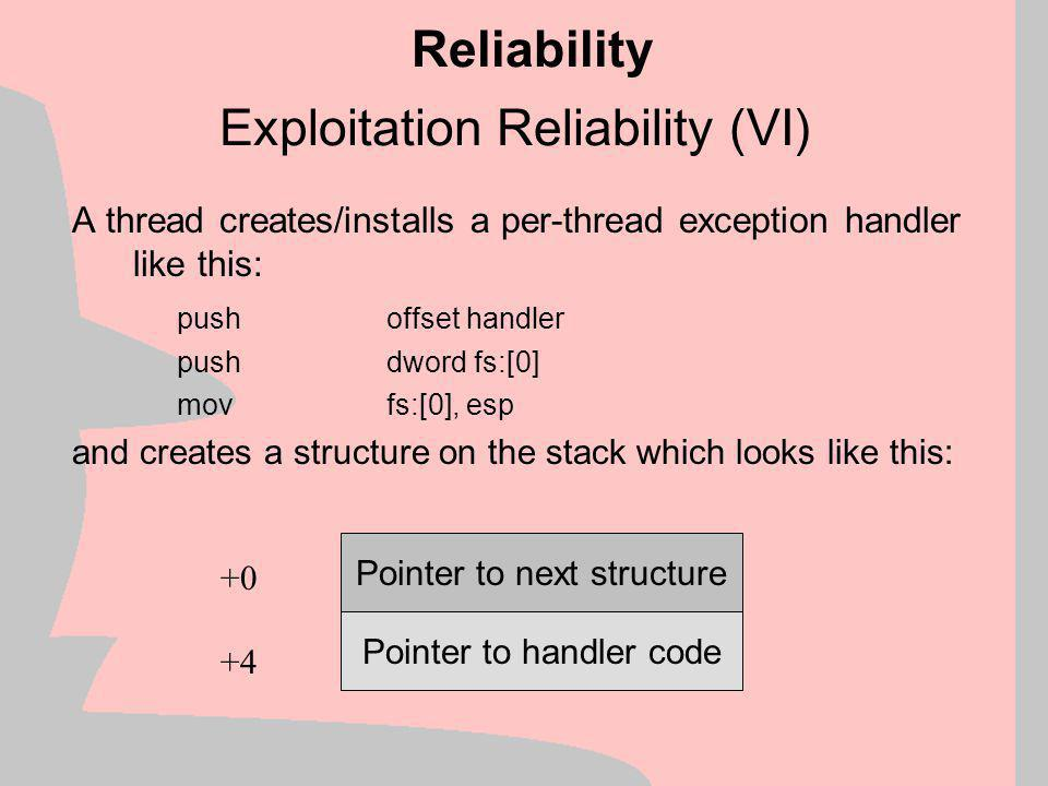 Exploitation Reliability (V) Reliability Overwrite pointer at 0x7FEE044C with a pointer to our shellcode Trigger an exception  We seize control of the exception-handling thread Drawback: We need to know exact KERNEL32.DLL version, language (under NT) and loading address Advantage: We just need to write one DWORD and then trigger an exception
