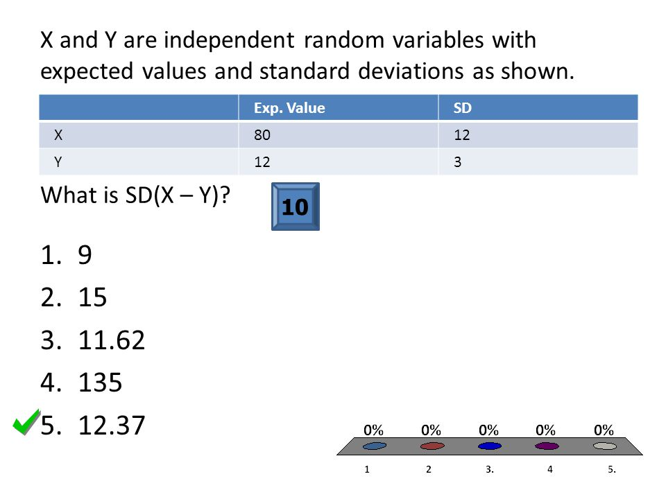 X and Y are independent random variables with expected values and standard deviations as shown. What is SD(X – Y)? Exp. ValueSD X8012 Y 3 10 1.9 2.15
