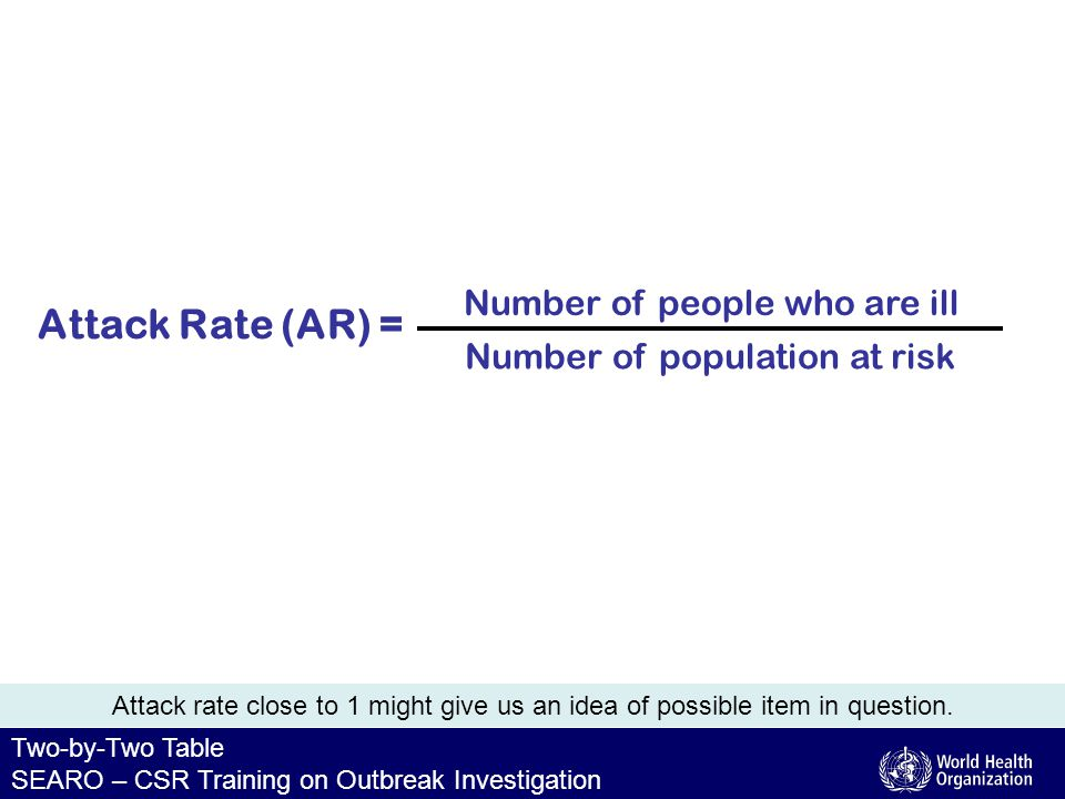 Two-by-Two Table SEARO – CSR Training on Outbreak Investigation Attack Rate (AR) = Number of population at risk Number of people who are ill Attack rate close to 1 might give us an idea of possible item in question.