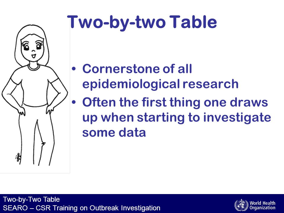 Two-by-Two Table SEARO – CSR Training on Outbreak Investigation Two-by-two Table Cornerstone of all epidemiological research Often the first thing one draws up when starting to investigate some data
