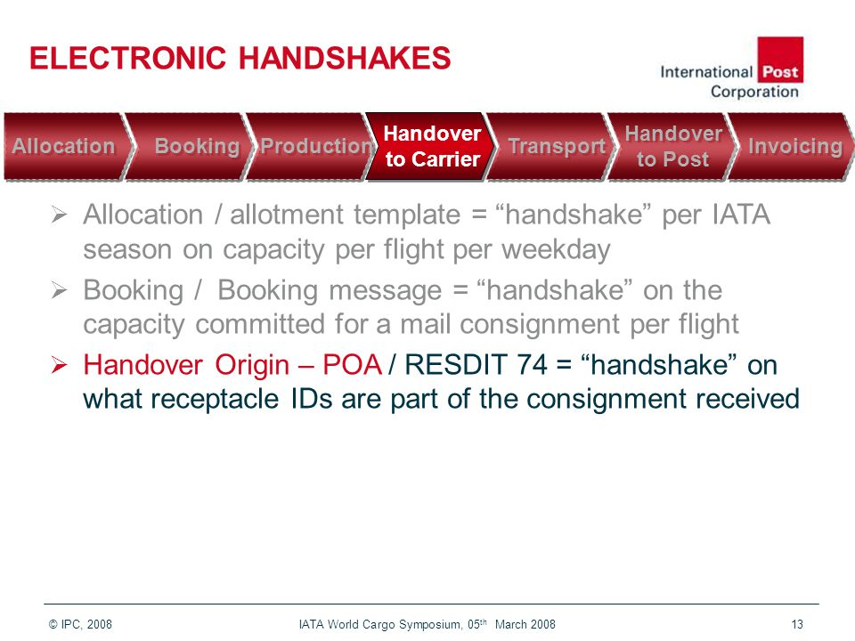 © IPC, 2008 IATA World Cargo Symposium, 05 th March 200813 ELECTRONIC HANDSHAKES  Allocation / allotment template = handshake per IATA season on capacity per flight per weekday  Booking / Booking message = handshake on the capacity committed for a mail consignment per flight  Handover Origin – POA / RESDIT 74 = handshake on what receptacle IDs are part of the consignment received Invoicing Handover to Post Handover to Post Transport Handover to Carrier Handover to Carrier Production Booking Booking Allocation