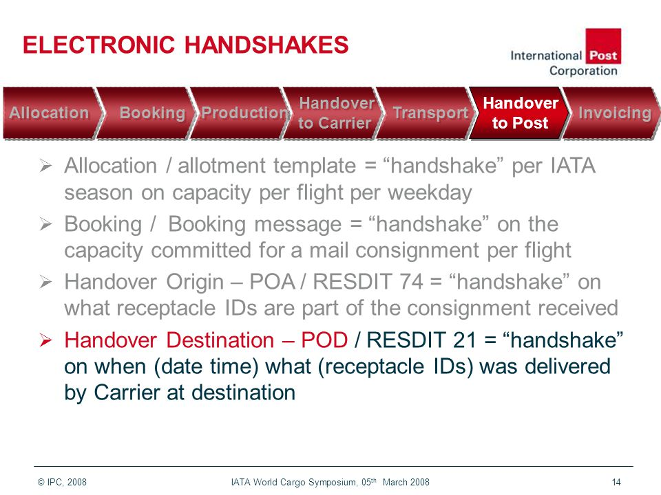 © IPC, 2008 IATA World Cargo Symposium, 05 th March 200814 ELECTRONIC HANDSHAKES  Allocation / allotment template = handshake per IATA season on capacity per flight per weekday  Booking / Booking message = handshake on the capacity committed for a mail consignment per flight  Handover Origin – POA / RESDIT 74 = handshake on what receptacle IDs are part of the consignment received  Handover Destination – POD / RESDIT 21 = handshake on when (date time) what (receptacle IDs) was delivered by Carrier at destination Invoicing Handover to Post Handover to Post Transport Handover to Carrier Handover to Carrier Production Booking Booking Allocation