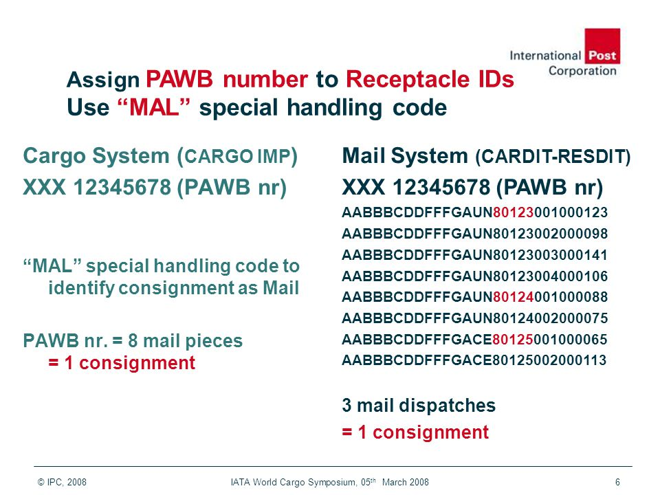 © IPC, 2008 IATA World Cargo Symposium, 05 th March 20086 Mail System (CARDIT-RESDIT) XXX 12345678 (PAWB no) 1) AABBBCDDFFFGAUN80123001000123 2) AABBBCDDFFFGAUN80123002000098 3) AABBBCDDFFFGAUN80123003000141 4) AABBBCDDFFFGAUN80123004000106 5) AABBBCDDFFFGAUN80124001000088 6) AABBBCDDFFFGAUN80124002000075 7) AABBBCDDFFFGACE80125001000065 8) AABBBCDDFFFGACE80125002000113 1 consignment = PAWB linked to 8 unique piece IDs (receptacle IDs) Cargo System ( CARGO IMP ) XXX 12345678 (PAWB nr) MAL special handling code to identify consignment as Mail PAWB nr.