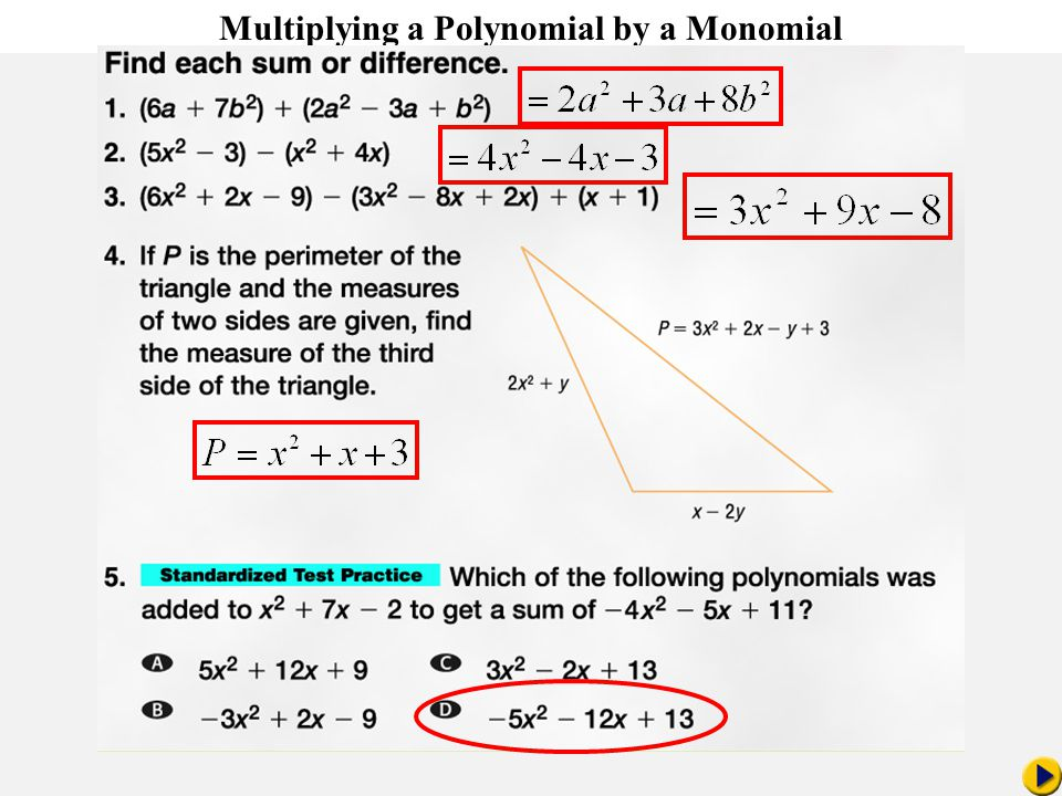 Math Pacing Multiplying a Polynomial by a Monomial