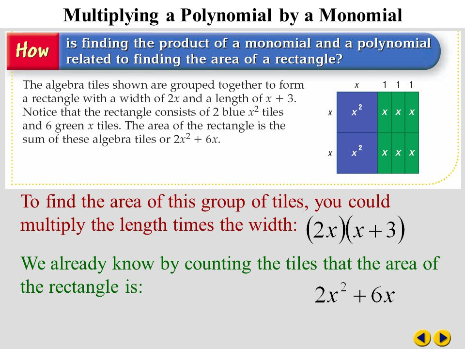 8-6 Multiplying a Polynomial by a Monomial To find the area of this group of tiles, you could multiply the length times the width: We already know by counting the tiles that the area of the rectangle is: