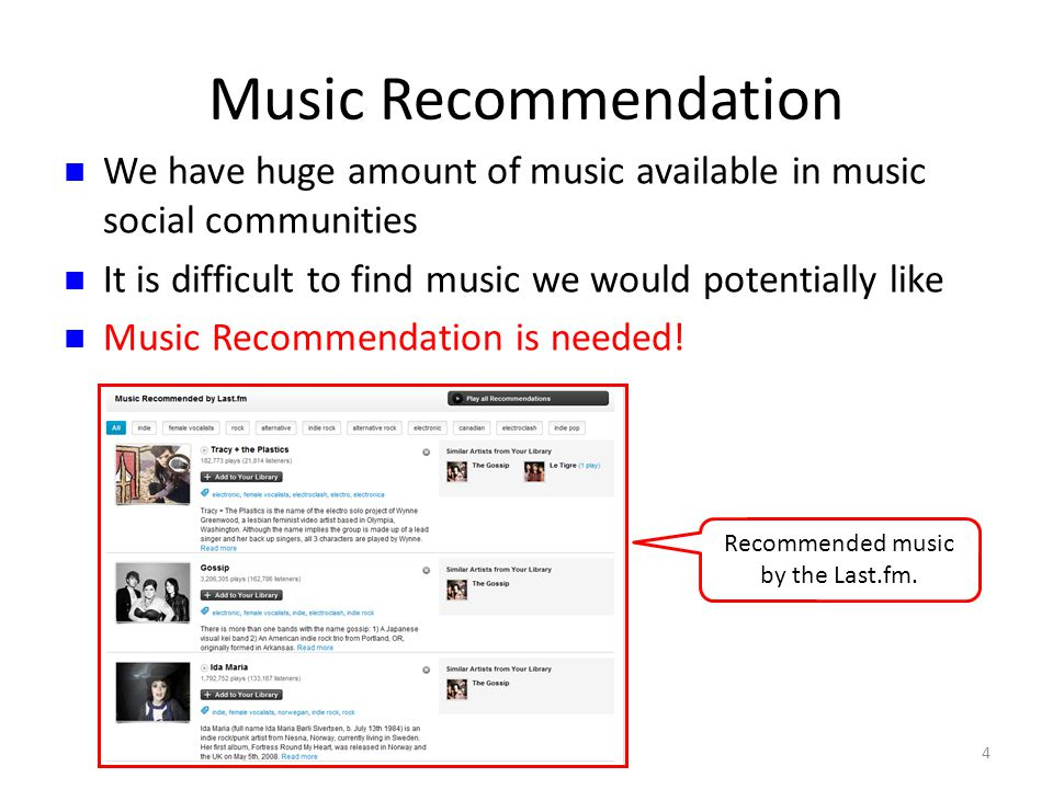 Music Recommendation 4 We have huge amount of music available in music social communities It is difficult to find music we would potentially like Music Recommendation is needed.