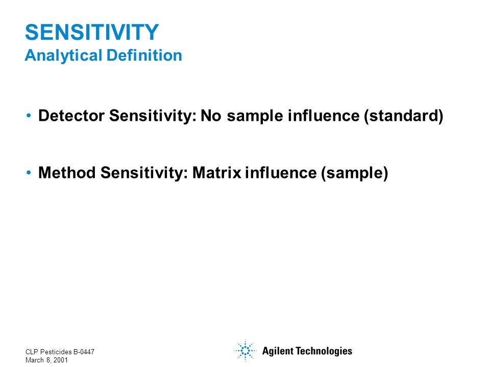 CLP Pesticides B-0447 March 8, 2001 SENSITIVITY Analytical Definition Detector Sensitivity: No sample influence (standard) Method Sensitivity: Matrix influence (sample)