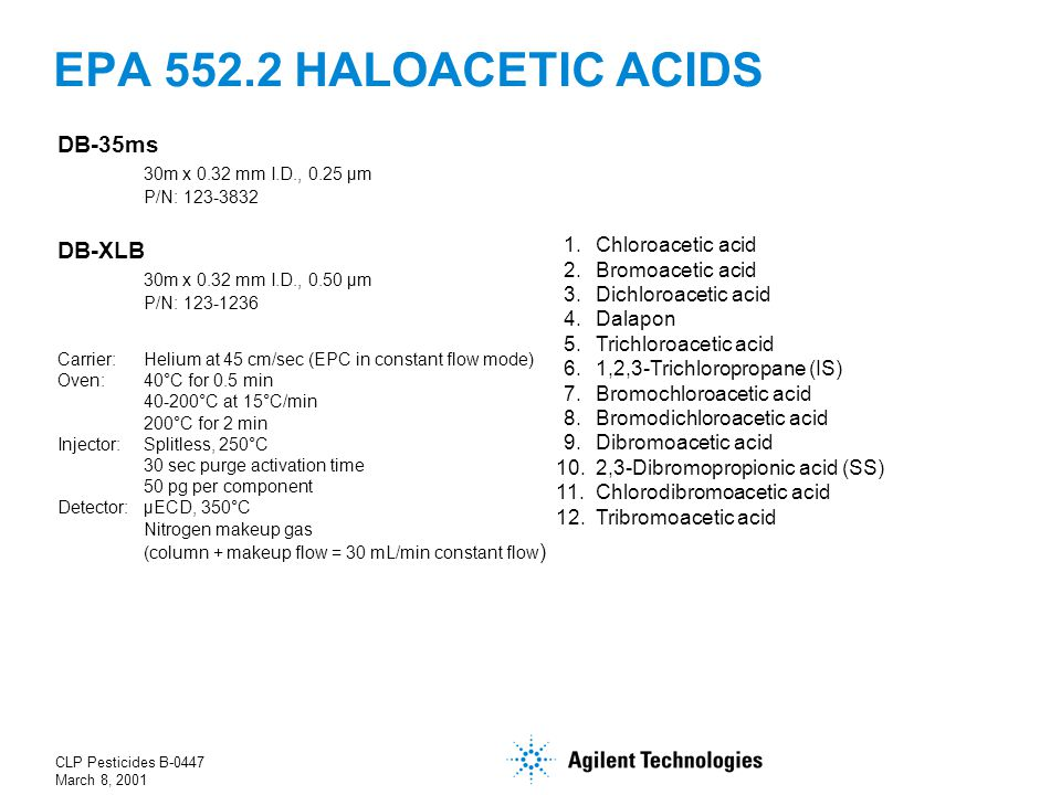 CLP Pesticides B-0447 March 8, 2001 EPA 552.2 HALOACETIC ACIDS 1. Chloroacetic acid 2. Bromoacetic acid 3. Dichloroacetic acid 4. Dalapon 5. Trichloro
