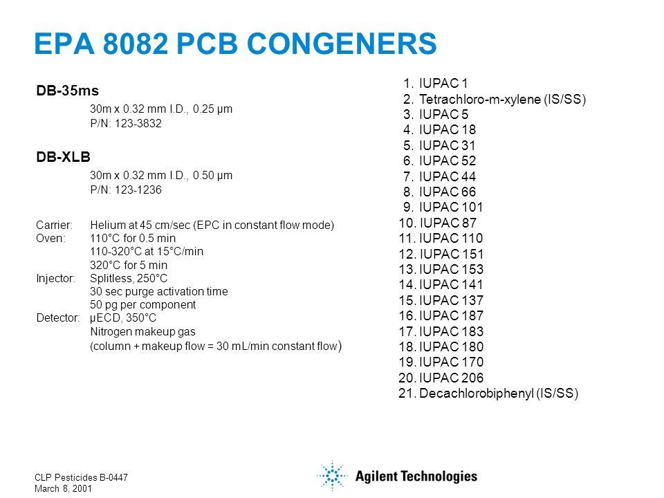 CLP Pesticides B-0447 March 8, 2001 EPA 8082 PCB CONGENERS 1.
