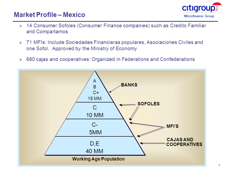 Microfinance Group 6  14 Consumer Sofoles (Consumer Finance companies) such as Credito Familiar and Compartamos  71 MFIs: Include Sociedades Financieras populares, Asociaciones Civiles and one Sofol.