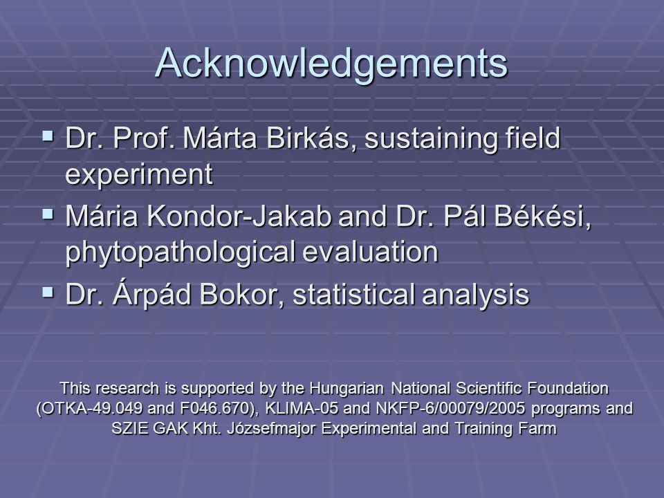 Acknowledgements  Dr. Prof.