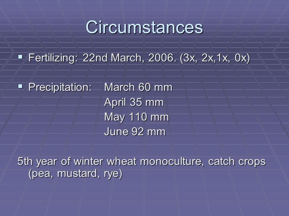 Circumstances  Fertilizing: 22nd March, 2006.