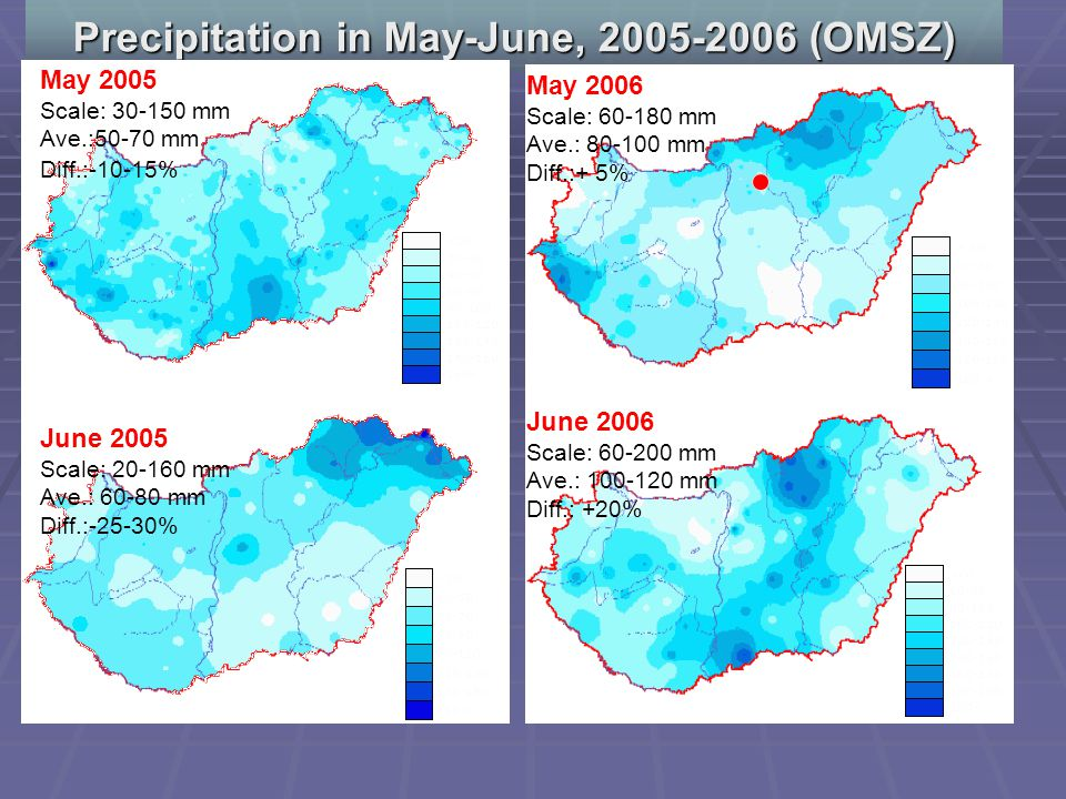 Precipitation in May-June, 2005-2006 (OMSZ) May 2005 Scale: 30-150 mm Ave.:50-70 mm Diff.:-10-15% June 2005 Scale: 20-160 mm Ave.: 60-80 mm Diff.:-25-30% May 2006 Scale: 60-180 mm Ave.: 80-100 mm Diff.:+ 5% June 2006 Scale: 60-200 mm Ave.: 100-120 mm Diff.: +20%