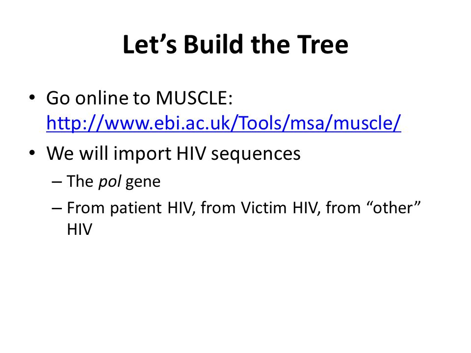 Let's Build the Tree Go online to MUSCLE: http://www.ebi.ac.uk/Tools/msa/muscle/ http://www.ebi.ac.uk/Tools/msa/muscle/ We will import HIV sequences – The pol gene – From patient HIV, from Victim HIV, from other HIV