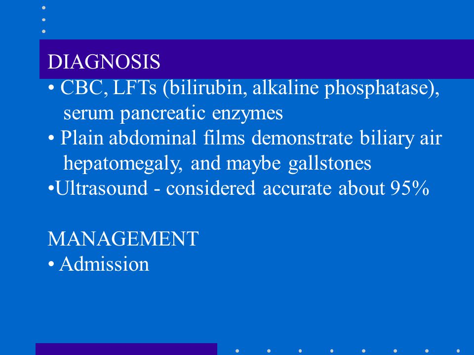 DIAGNOSIS CBC, LFTs (bilirubin, alkaline phosphatase), serum pancreatic enzymes Plain abdominal films demonstrate biliary air hepatomegaly, and maybe gallstones Ultrasound - considered accurate about 95% MANAGEMENT Admission