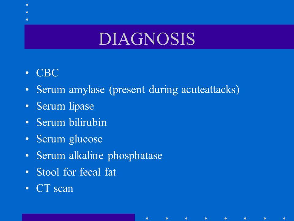 DIAGNOSIS CBC Serum amylase (present during acuteattacks) Serum lipase Serum bilirubin Serum glucose Serum alkaline phosphatase Stool for fecal fat CT