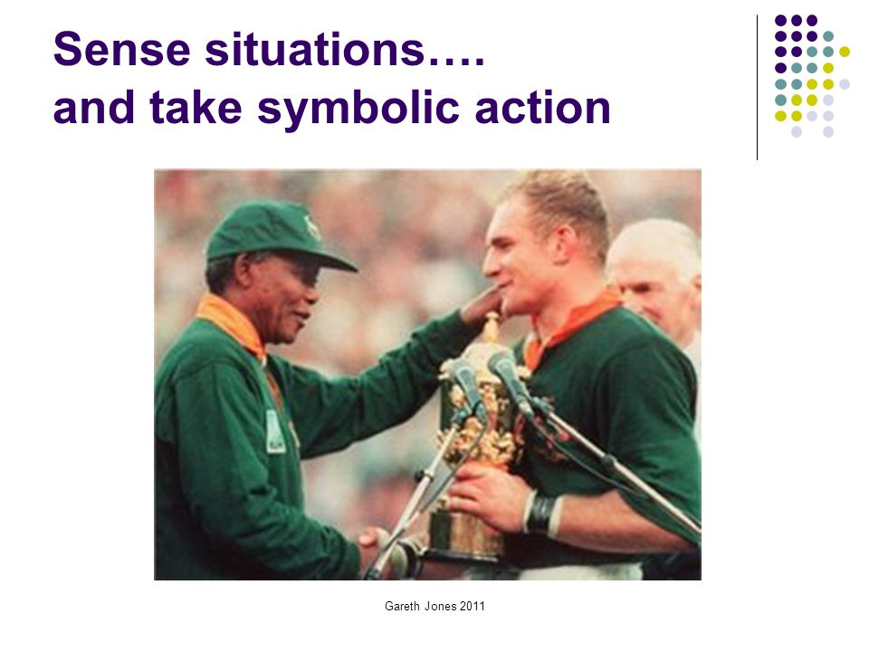 Gareth Jones 2011 Sense situations…. and take symbolic action