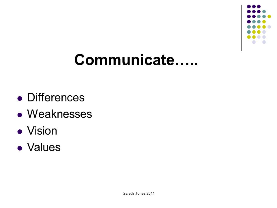 Gareth Jones 2011 Communicate….. Differences Weaknesses Vision Values