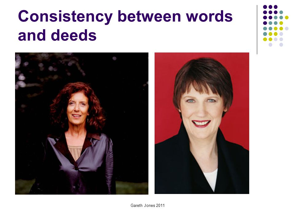 Gareth Jones 2011 Consistency between words and deeds
