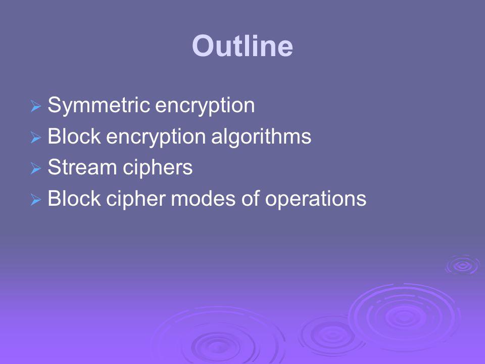 Modes of Operation  block ciphers encrypt fixed size blocks eg.
